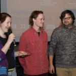 "Johanna Doyé (FilmFestTeam), Sounddesignerin Joanna Popowicz und Regisseur Grzegorz Szczepanik (""Snails"")_#ffos16_Foto © www.kerstin-hehmann.de"