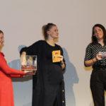 Inga Becker (FilmFestTeam), Festivalleiterin Julia Scheck und Moderatorin Kerstin Schuhmann #ffos16_Foto  © www.kerstin-hehmann.de